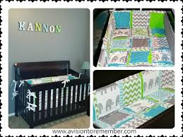this particular set comes in turquoise blue lime green and gray colors with elephants and chevron fabrics