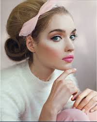 beautiful 60 style hair and makeup pink