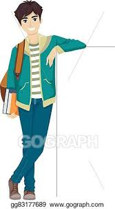 Eps Illustration Teen Guy College Student Lean Board Vector