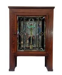 antique craftsman cabinet with stained glass door vintage craftsman style cabinet