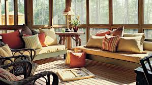 Covered porch furniture Decorated Covered Screened Family Porch Southern Living Porch And Patio Design Inspiration Southern Living