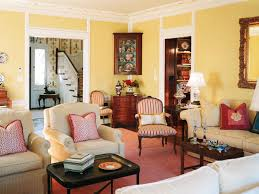 Living Room:Attractive French Country Living Room Design With Yellow Wall  Paint Also Black Coffee
