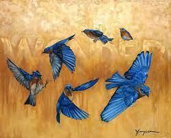 Eastern Bluebird in flight Wonder 56 x 56 inches Original and Prints  Available   Art inspiration, Art, Nerd art
