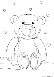 Teddy Bear With Heart Coloring Pages Printable Coloring Page For Kids