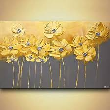 landscape painting yellow gray flowers gray background painting