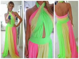 Dress Colorful Green Yellow Pink Maxi Dress Wheretoget