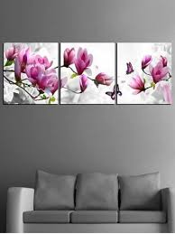 Flowers and Butterfly Print Unframed Split Canvas Paintings | Hand ...