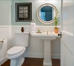great pedestal sink powder room powder room with blue walls wainscoating and pedestal sink