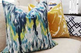 CAD INTERIORS pillows ikat fabric eclectic indigo blue yellow green teal  turquoise lime transitional interior design