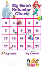 White Incentive Chart Princess Good Behavior Sticker Chart Incentive Chart