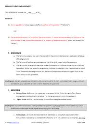 Music Agreement Contract Publishing Contract Template 1