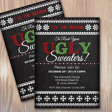 Ugly Christmas Sweater Party Custom Invitation Instant Download Microsoft Word Template
