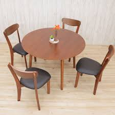 dining table 5 point set walnut round table coro 360 pvc chairs completed dining table