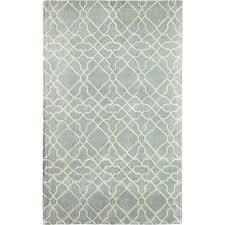 mills geometric hand tufted wool light blue area rug white