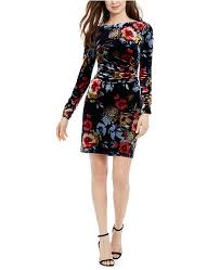 Vince Camuto Dress Size Chart Floral Print Velvet Bodycon Dress