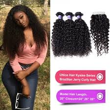 Hair Length Chart Bundles Unice Hair Kysiss Series Brazilian Jerry Curly Hair 3
