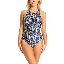 Zoggs Womens Metallix Crossback Eco Fabric One Piece Swimsuit