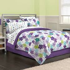 purple green fl daisy girls bedding twin full queen comforter set bed in a bag