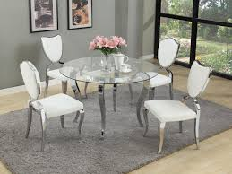 chic idea round glass dining table and chairs 14