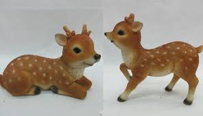set of 2 wonderland sitting fawn standing fawn baby deer home garden statue décor decoration balcony gift gifting