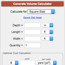Concrete Measurement Chart Concrete Calculator