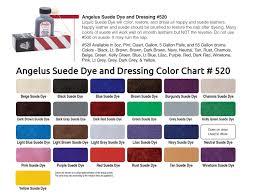 Angelus Paint Dye Color Charts
