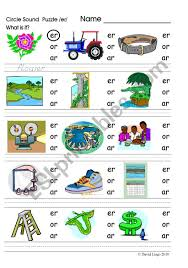 When teaching a phonics skill it's often helpful to use a key word and picture to help the students remember the sound to the letter combinations. Circle Sound Puzzle 7 Phonics The Er Sound Esl Worksheet By David Lisgo