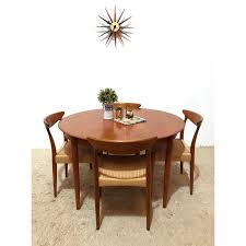 mid century vintage danish dyrlund extending round dining table 1960s