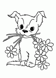 Cute Puppy With Flower Coloring Page For Kids Animal Coloring Pages