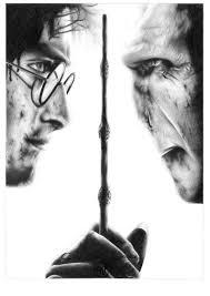 Harry Potter Contro Lord Voldemort Matita Ritratto Disegno Etsy