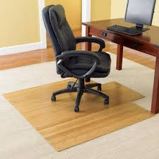 simple living home office design with chair mat as