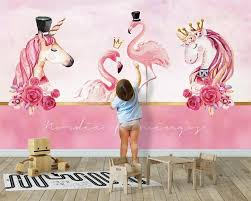 Custom Fashion Modern Stereo Wallpaper Nordic Pink Couple Flamingo Unicorn Background Wall Papers Home Decor Behang