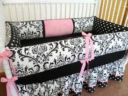 pink and gray damask crib bedding black white
