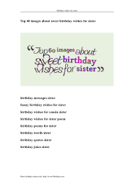 Top 60 Images About Sweet Birthday Wishes For Sister