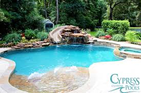 Pool Designs With Rock Slides Freeform Pool With Boulder Creations Slide And Moss Rock