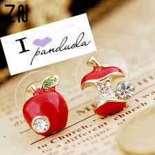 <b>ZN Hot sale Fashion</b> lovely red drops of glaze asymmetric apple ...