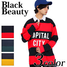 the horizontal stripe capital city logo print long sleeves big rugby shirt that a large logo print attracts an eye comes up i am finished in logo print