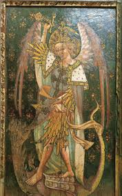 ranworth saint helen s rood screen showing st michael and the seven headed dragon