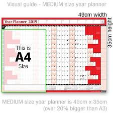2019 Yearly Planner Annual Year Wall Chart Red A Free 2 Year Desk
