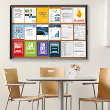 quartet eisc3956 euro 56 x 39 contemporary enclosed sliding cork bulletin board with aluminum frame