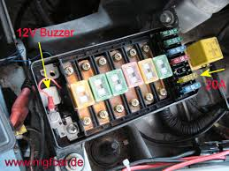 mgf mg tf owners forum fan fuse alarm how to fit place buzzer into fuse panel bolt panel back in place remove the hex screw at the fusebox positive connection crimp sleeve connector to red wire and bolt