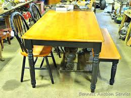Lot Wooden Kitchen Table With 2 Chairs And A Bench Table Is 3 X 5
