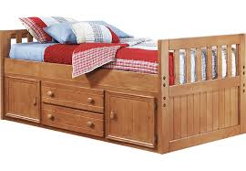 Creekside Taffy 3 Pc Twin Captain s Bed Twin Beds Light Wood