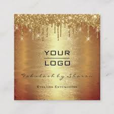 Gold Card Office Gold Spark Makeup Artist Lash Drips Your Logo Square