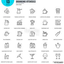 simple set of drinking utensils vector line icons contains such icons as turkish coffee pot kettle coffee maker wine bottle and glasore