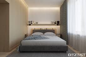 beige wall grey bedding muted colours bedroom