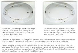 ingenious bathtub right hand drain home remodel bathtubs skirt or left handed alcove 60x30 x