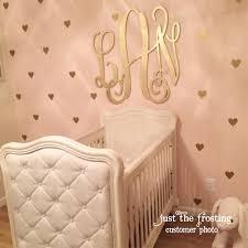 monogram wall decor nursery gold decals heart confetti wooden design
