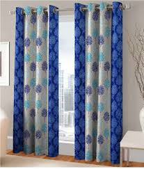 Fashion Fab Set of 2 Door Eyelet Curtains Printed Blue