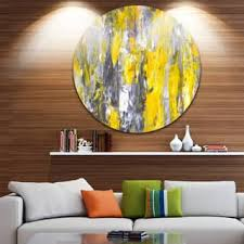 designart grey and yellow abstract pattern abstract glossy large circle metal wall art on black grey and yellow wall art with shop yellow metal art discover our best deals at overstock